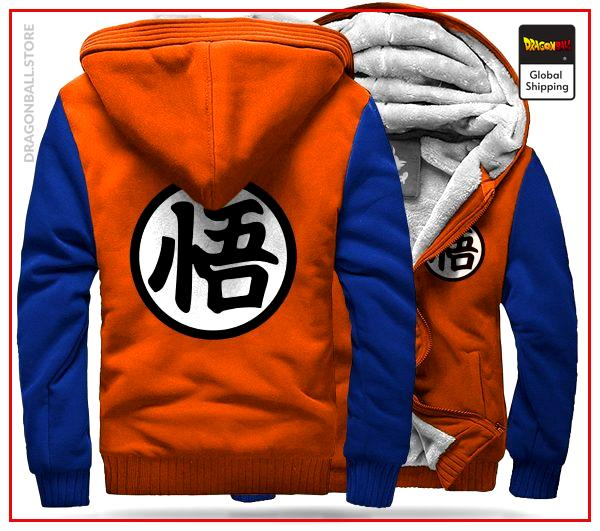 "DBZ Fleece Jacket Kanji ""Go"" (Orange & Blue) 1 / S Official Dragon Ball Z Merch"