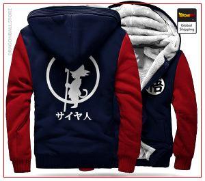 DBZ Fleece Jacket Goku Small (White Logo) BLUE & RED / S Official Dragon Ball Z Merch