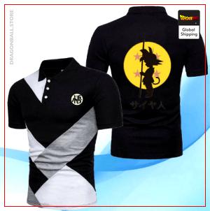 "Dragon Ball Z Polo Shirt Kanji ""Go"" Striped Black / S Official Dragon Ball Z Merch"