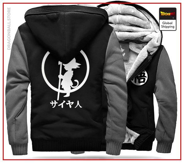 DBZ Fleece Jacket Black & Grey Black & Grey / 5XL Official Dragon Ball Z Merch