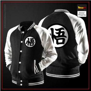 Teddy Dragon Ball Z Jacket Kanji Go (Black & White) M Official Dragon Ball Z Merch