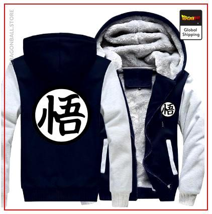 "DBZ Fleece Jacket Kanji ""Go"" (Blue & White) S Official Dragon Ball Z Merch"