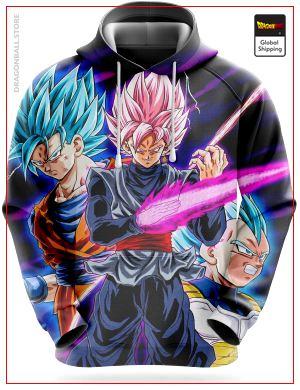 Dragon Ball Super Sweatshirt  Black Goku VS Saiyans Blue XL Official Dragon Ball Z Merch