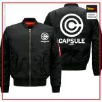 DBZ Bomber Jacket  Capsule Corp Black White logo / S Official Dragon Ball Z Merch