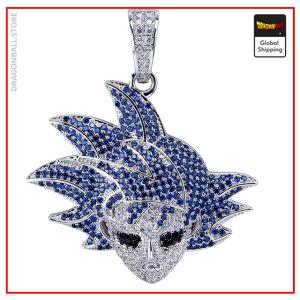 Dragon Ball Z Necklace Blue Goku Silver plated / Large links / 46 CM Official Dragon Ball Z Merch