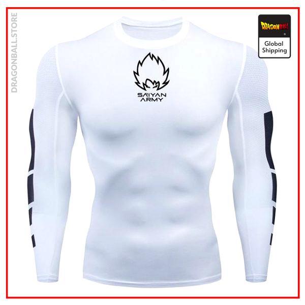 Long Compression T-shirt Saiyan Army (White) White (black patterns) / M Official Dragon Ball Z Merch