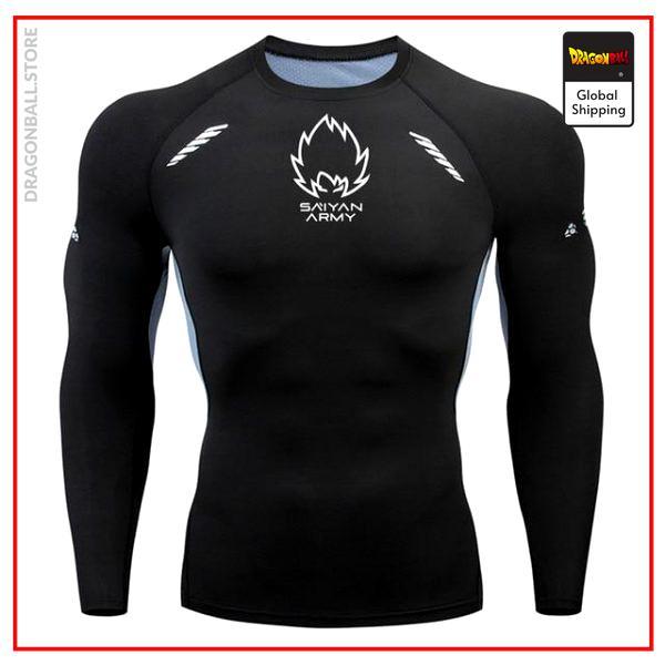Saiyan Army Long Compression T-Shirt (Black) Black and Fluorescent Green / XL Official Dragon Ball Z Merch