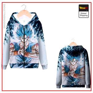 DBZ Zip Sweatshirt Goku SSJ Blue MQX 1063 / S Official Dragon Ball Z Merch