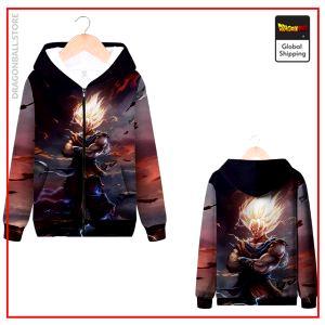 DBZ Zip Sweatshirt Saiyan Fanart MQX 1064 / S Official Dragon Ball Z Merch