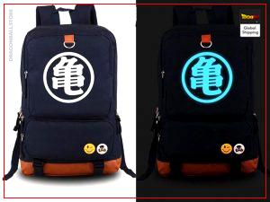 "Dragon Ball Z Backpack  Kanji Fluorescent Kanji ""Kame"" - Blue Official Dragon Ball Z Merch"