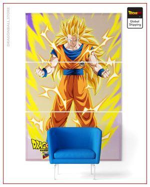 Wall Art Canvas Dragon Ball Z Goku SSJ3 Medium - 40x80 cm (x3) / Without frame Official Dragon Ball Z Merch