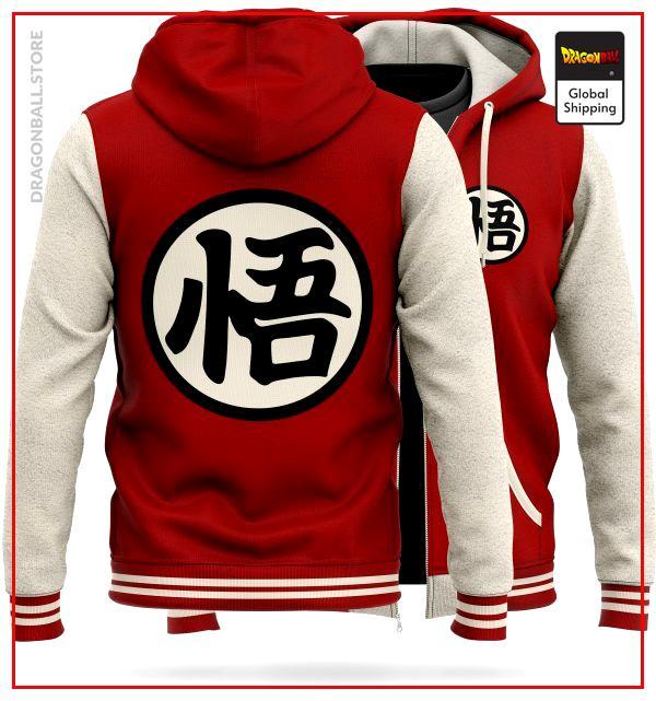 """DBZ Fleece Jacket Kanji """"Go"""" (Red) M Official Dragon Ball Z Merch"""