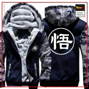 Navy Blue Premium Winter Kanji Fleece Jackets (Goku's Kanji) DBM2806 L Official Dragon Ball Merch