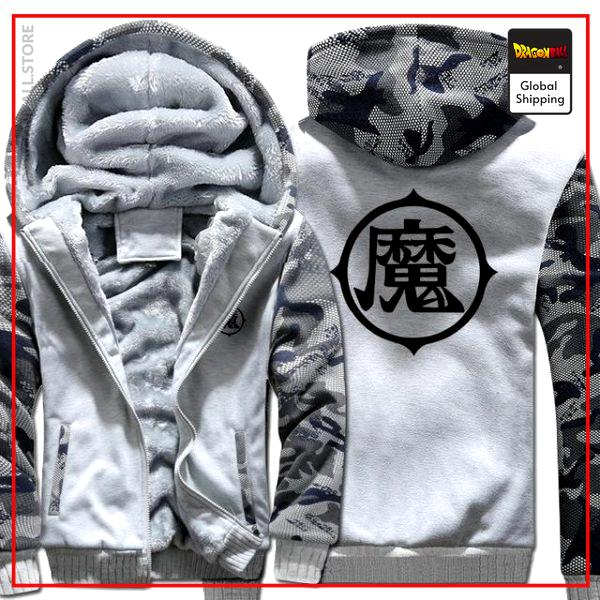 White Premium Winter Kanji Fleece Jackets (King Piccolo Kanji) DBM2806 L Official Dragon Ball Merch