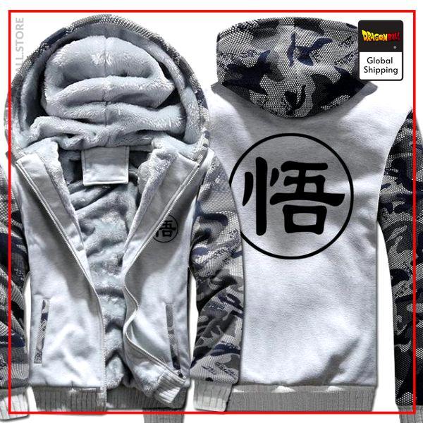 White Premium Winter Kanji Fleece Jackets (Goku's Kanji) DBM2806 L Official Dragon Ball Merch