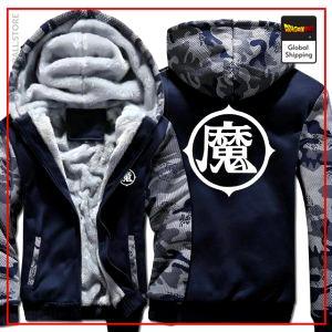Navy Blue Premium Winter Kanji Fleece Jackets (King Piccolo Kanji) DBM2806 L Official Dragon Ball Merch